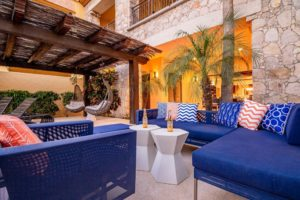 outdoor lounge in private villa in cabo