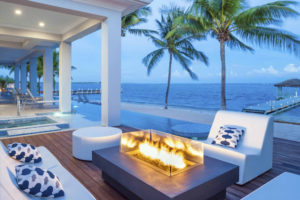 fire place in a private villa on the white sand beach in the caymans