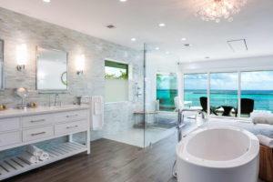 modern master bath interior of private villa in the caymans